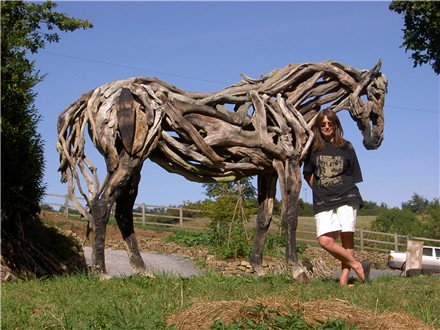 sculpture de chevaux en bois flott hippotese le cheval de travail. Black Bedroom Furniture Sets. Home Design Ideas